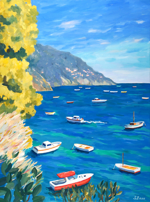 Sharon Bass - Bright Fishing Boats, Italy - Oil on Canvas - 40x30