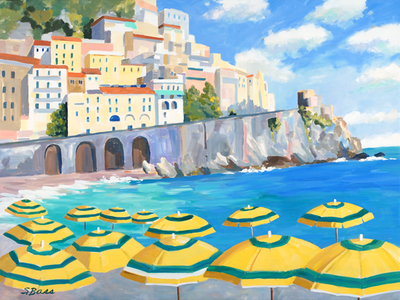 Sharon Bass - Yellow Umbrellas at Spiaggia Grande, Almafi - Oil on Canvas - 30x40