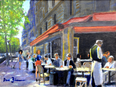 David Zimmerman - Lunch On The Boulevard - Oil on Canvas - 16x20
