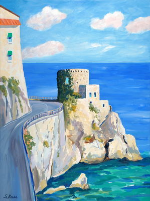 Sharon Bass - Castle Ruins & Hotel Luna Covento - Oil on Canvas - 40x30