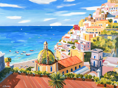 Sharon Bass - The Splendor of Positano - Oil on Canvas - 36x48