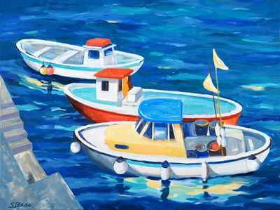 Sharon Bass - Three fishing Boats, Amalfi Harbor - Oil on Canvas - 30x40