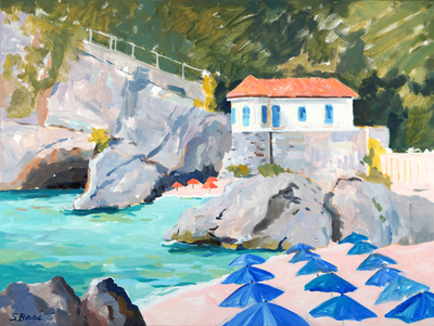 Sharon Bass - White Villa & Blue Umbrellas - Oil on Canvas - 30x40