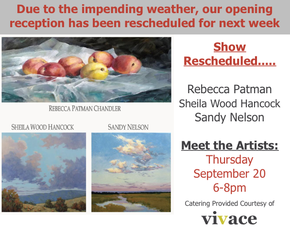Meet the Artists:  Thursday, September 20 from 6-8pm.   Enjoy a glass of wine
